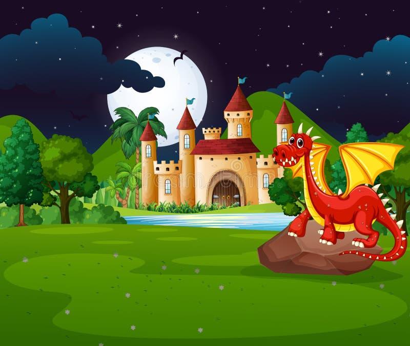 Szene mit rotem Drachen und Schloss stock abbildung