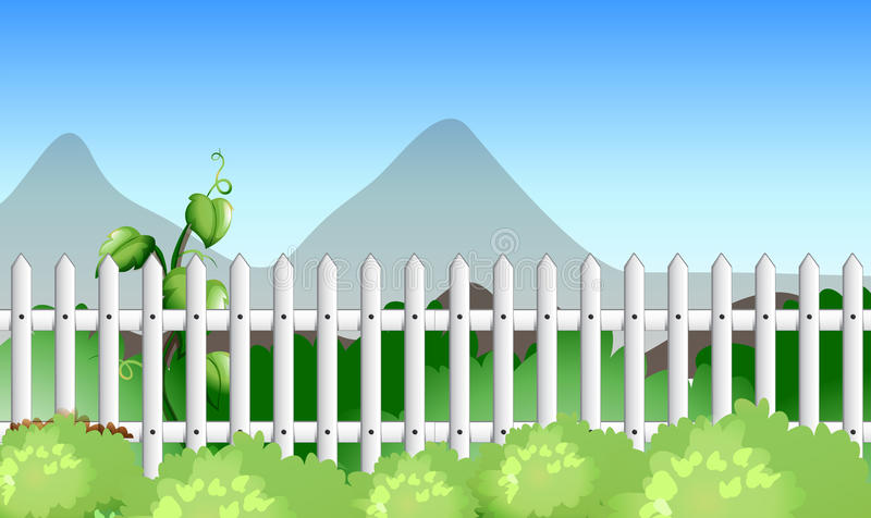 Szene mit Zaun und Garten vektor abbildung