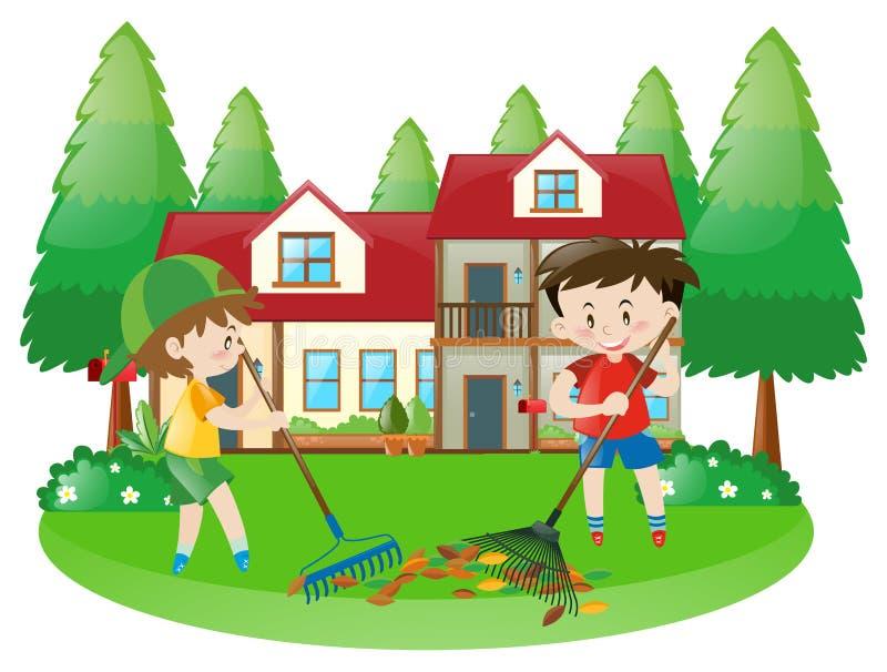 Szene mit zwei Jungen, die getrocknete Blätter harken vektor abbildung