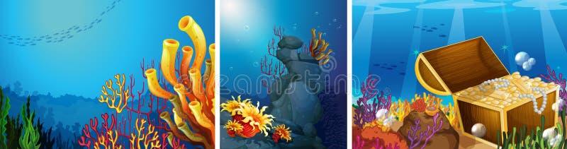 Szene Unterwasser mit Korallenriff lizenzfreie abbildung