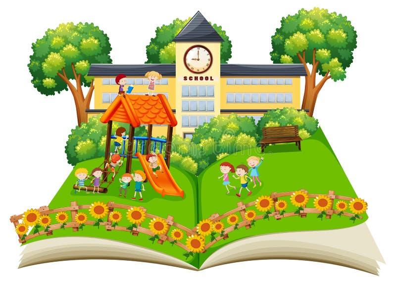Szene von den Kindern, die im Schulhof spielen, knallen oben Buch stock abbildung