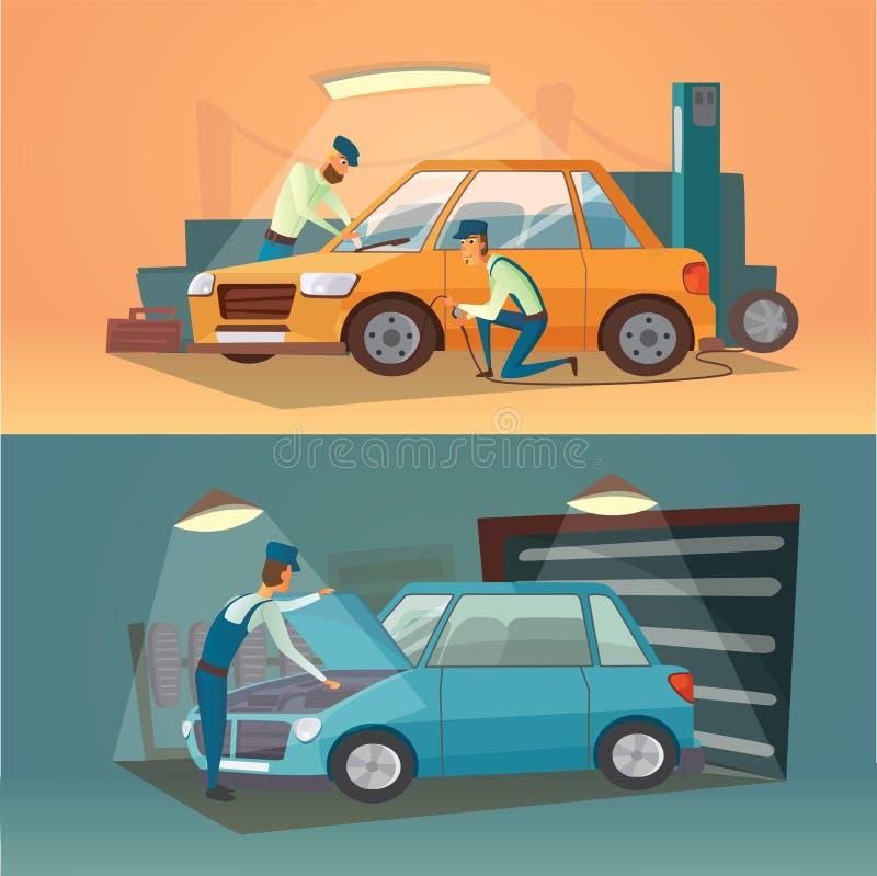 Szenen der Autoreparatur-Vektorillustration Reifen und Autogeschäft der Arbeitskräfte im Einsatz Karikaturgarage stock abbildung