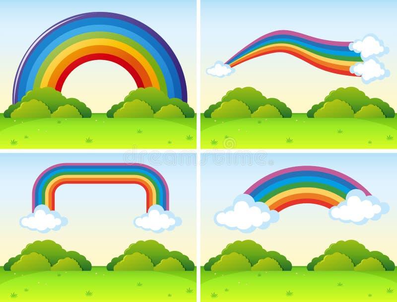 Szenen mit verschiedenen Formen von Regenbogen lizenzfreie abbildung