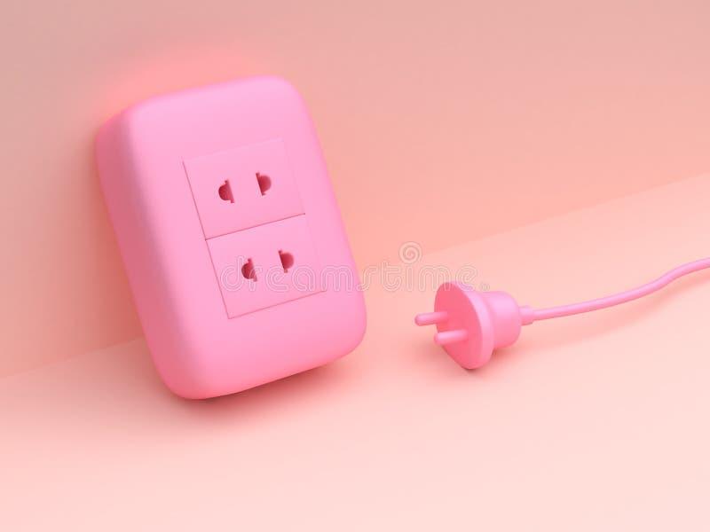 Szenenenergie-Steckerstromtechnologie der Wiedergabe 3d minimale abstrakte rosa lizenzfreie abbildung