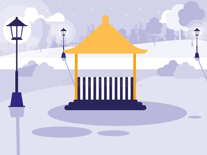Szenenpark mit Kiosk lokalisierter Ikone vektor abbildung