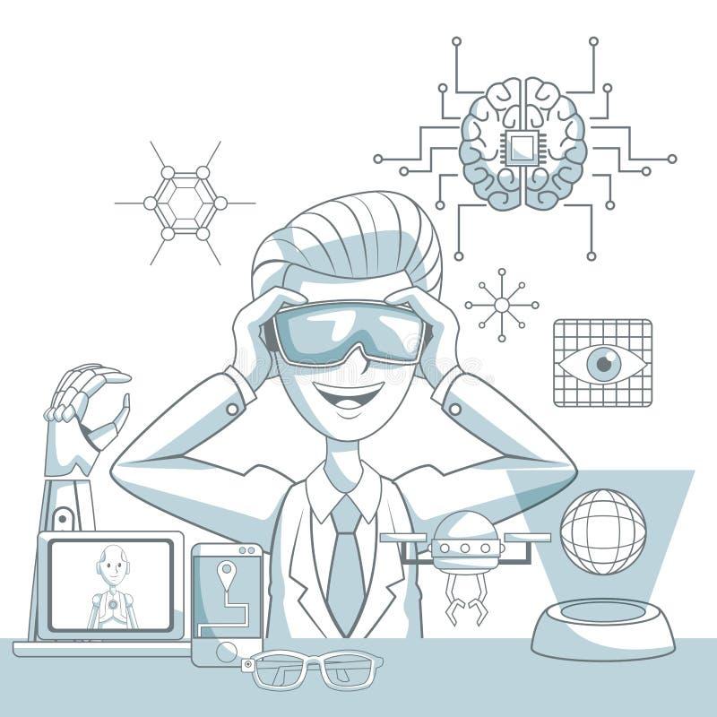 Szenenschattenbildfarbe unterteilt Schattierung des Mannes mit den futuristischen Gläsern der virtuellen Realität und Ikoneneleme lizenzfreie abbildung