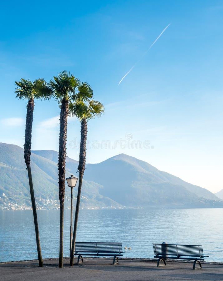 Szenenseite von See Maggiore in der Schweiz lizenzfreie stockfotografie