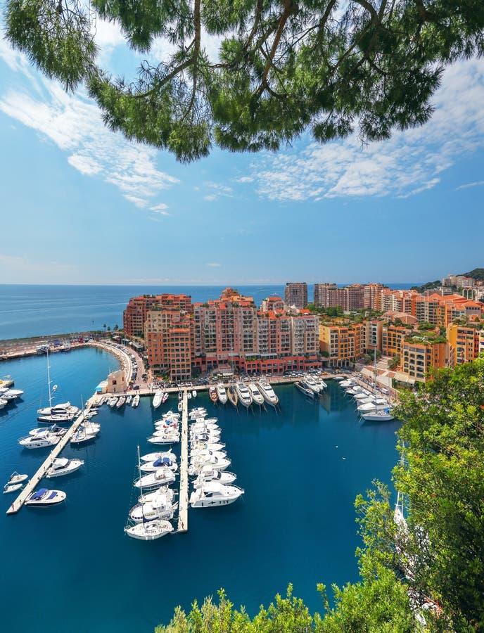 Szenische Ansicht über Fontvieille und Monaco-Hafen lizenzfreies stockbild