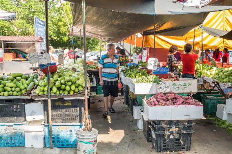 Szenische Ansicht des Morgenmarktes in Ampang, Malaysia stockfotos