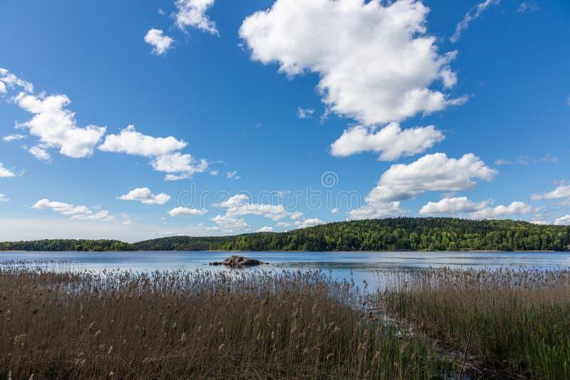 Szenische Ansicht des Steinmedizinmanns auf See Tulmozero unter einem blauen Himmel mit Wolken, Karelien Russland stockfotografie