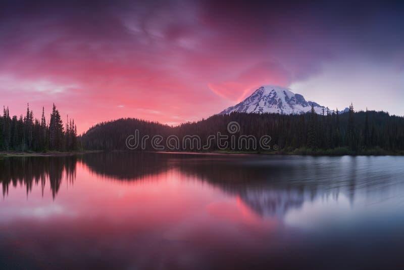 Szenische Ansicht vom Mount Rainier reflektierte sich über den Reflexionsseen Rosa Sonnenunterganglicht auf dem Mount Rainier in  lizenzfreie stockfotos