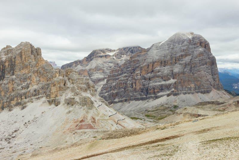 Szenische Ansicht von Passo Falzarego, Dolomit, Italien stockbilder