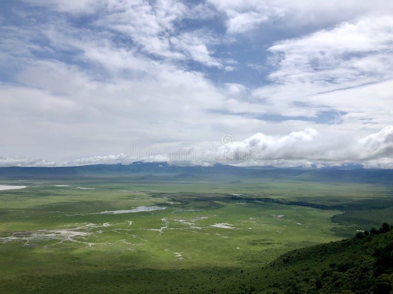 Szenische Ansicht von Salzsee, grüner Boden des Ngorongoro-Krater-Naturschutzgebiets in Tansania, Ostafrika lizenzfreies stockfoto