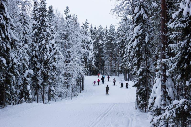 Szenische Ansicht von Skifahrern auf schneebedecktem Skikurs mit stockfotos