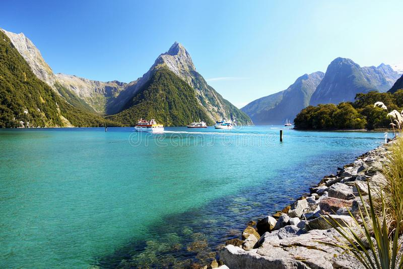 Szenische Fjord Landschaft Neuseelands, Milford Sound stockbilder
