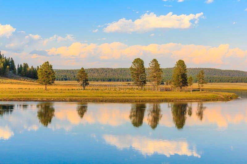 Szenische Landschaft des Snake Rivers am Yellowstone-Staatsangehörigen lizenzfreies stockbild