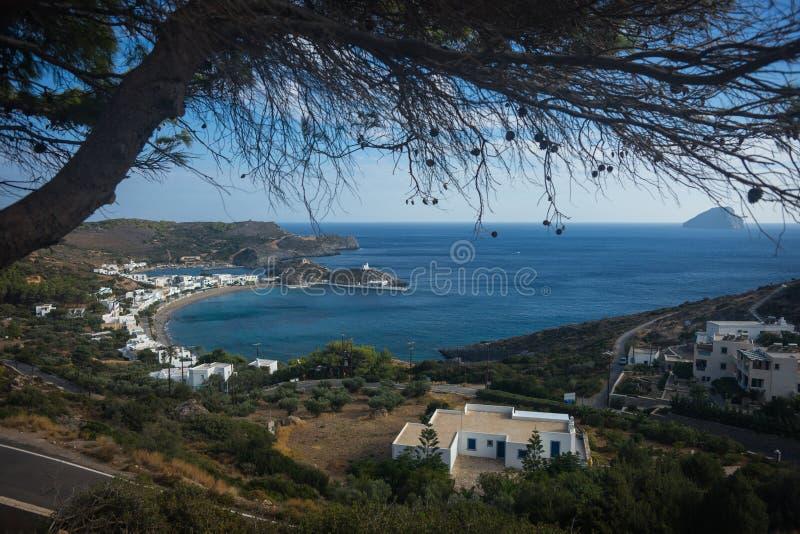Szenische Landschaft mit seaview, Kythira, Griechenland stockfotografie