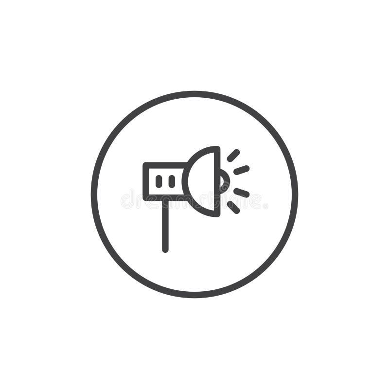 Szenische Scheinwerferlinie Ikone lizenzfreie abbildung