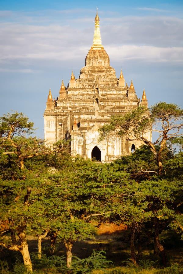 Szenische Sonnenuntergangansicht des schönen alten Tempels in Bagan, Myanmar lizenzfreies stockbild