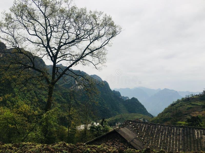 Szenische Stelle des Erholungsortes, Landschaftsmalerei, grünes Wasser, grüner Berg, goldener Hügel, silberner Berg stockfoto