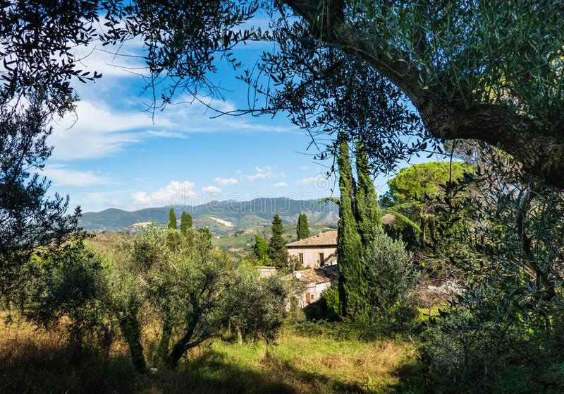 Szenische typische italienische Landschaft, mit ruhigen Hügeln, grüner Vegetation und rustikalen Häusern lizenzfreie stockfotos