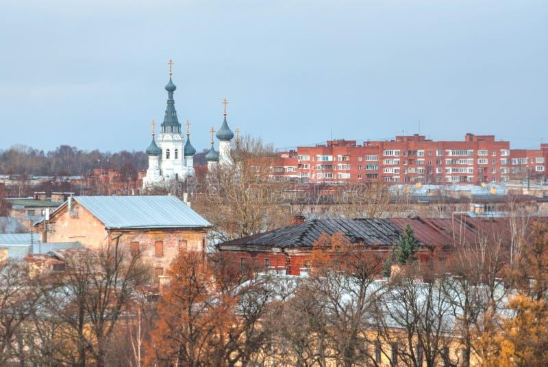 Szenische Vogelperspektive von Kronshtadt, eine alte touristische Stadt stockfoto