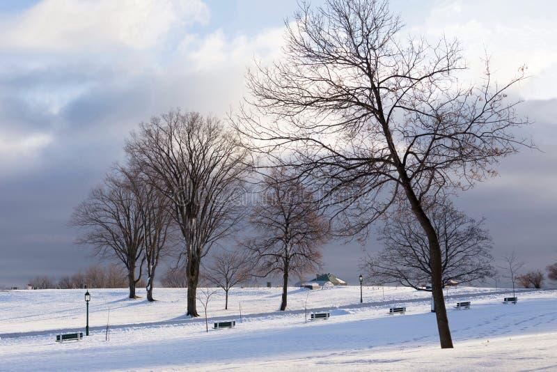 Szenische Winteransicht von schönen Ebenen von Abraham bedeckte im Schnee stockbild