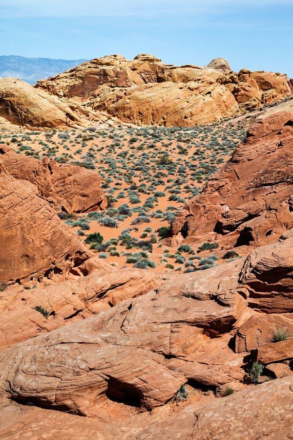 Szenisches landcape von Sandsteinformationen am Tal des Feuer Nationalparks in Süd-Nevada, USA lizenzfreies stockbild