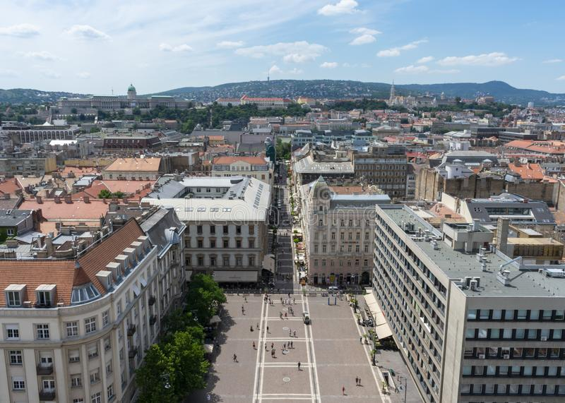 Szent István square from the top of St. Stepehn Cathedral royalty free stock image