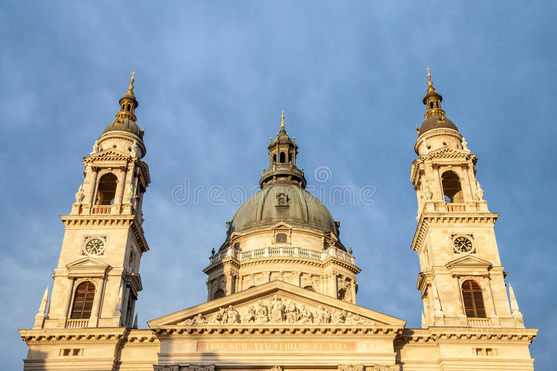 Szent Istvan Basilica, aka Saint Stephen Church taken during sunset in Budapest, Hungary. NPicture of the Church of Saint Stephen, also known as Szent Istvan royalty free stock image