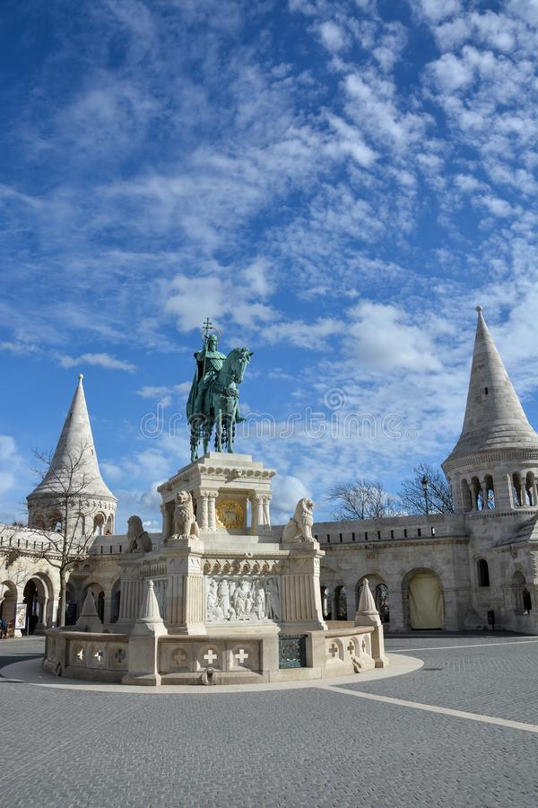 Szent Istvan statue at Fishermans bastion in Budapest. With blue sky stock photo