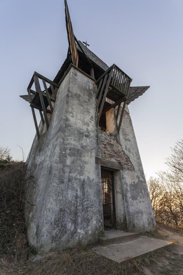 Szent Laszlo lookout tower in Mogyorod. The abandoned Szent Laszlo lookout tower in Mogyorod, Hungary stock images