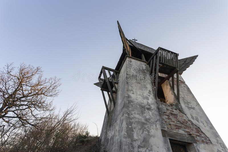Szent Laszlo lookout tower in Mogyorod. The abandoned Szent Laszlo lookout tower in Mogyorod, Hungary royalty free stock image