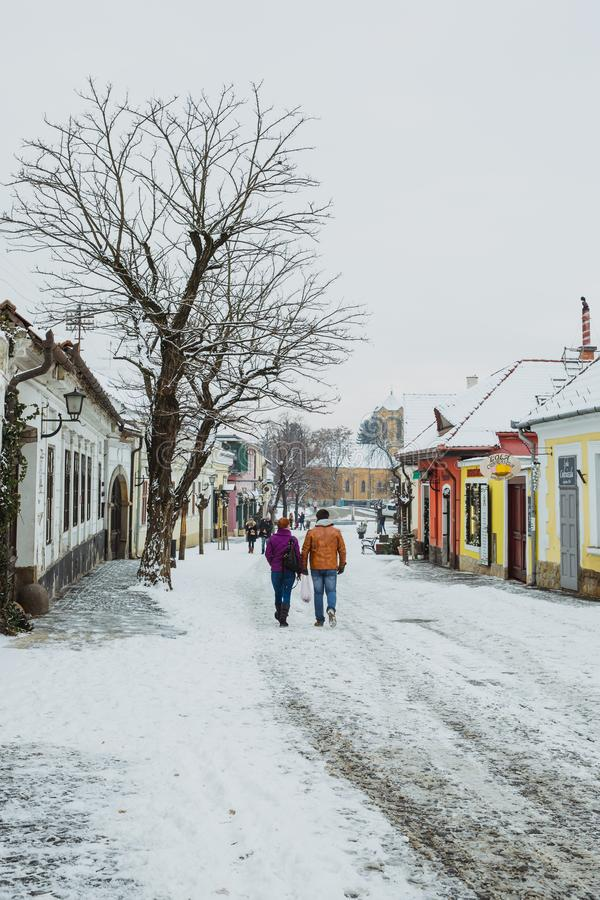 Free SZENTENDRE, HUNGARY - JANUARY 12, 2017, Tourists Are Walking On The Streets In The Winter. Street View. Szentendre- Small Town Royalty Free Stock Photography - 133342497