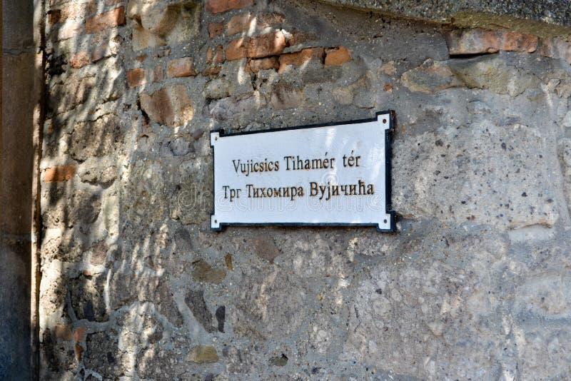 Szentendre hungary Plattan med namnet av gatan royaltyfria foton