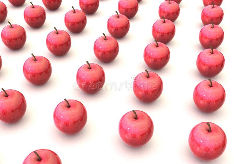 Szeregujący w czerwoni jabłka rzędy obraz royalty free