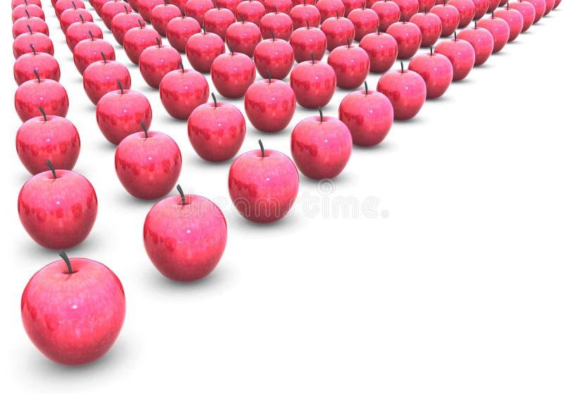Szeregujący w czerwoni jabłka rzędy fotografia royalty free