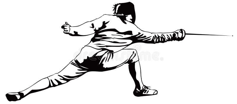 Szermierczy napadanie mężczyzna ilustracja wektor