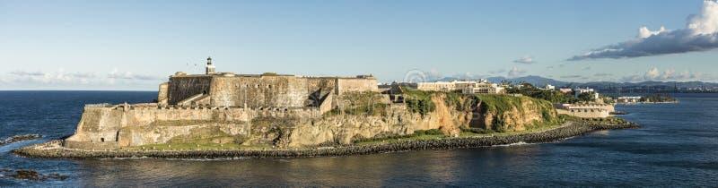 Szeroka panorama El Morro fort w San Juan, Puerto Rico obraz stock