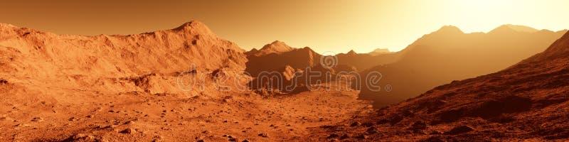 Szeroka panorama mąci krajobraz z górą - czerwona planeta - ilustracji