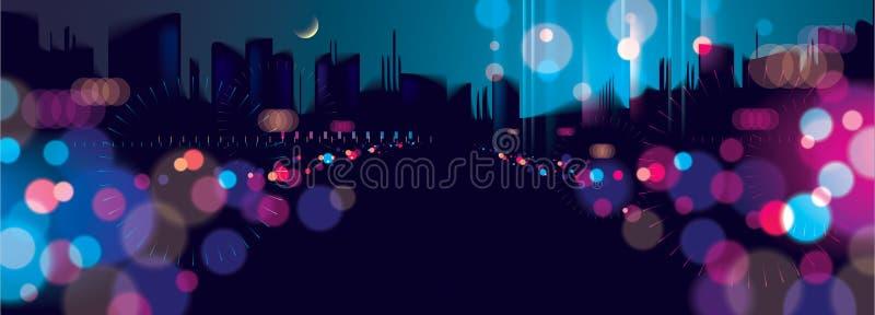 Szeroka panoramy światła noc przy miastem zaświeca, bokeh abstrakcjonistyczny tło zamazujący Skutka wektorowy pi?kny t?o Plama ko ilustracja wektor