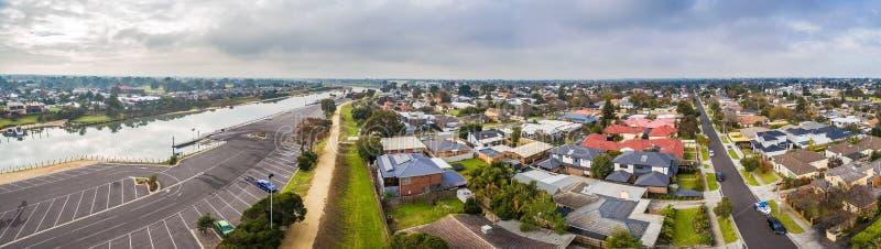 Szeroka powietrzna panorama Carrum przedmieście fotografia royalty free