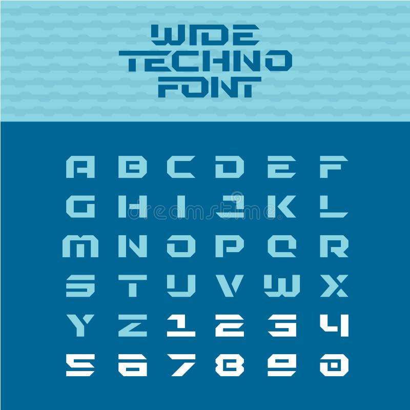 Szeroka techno plakata chrzcielnica Geometryczni graniaści charaktery ilustracji