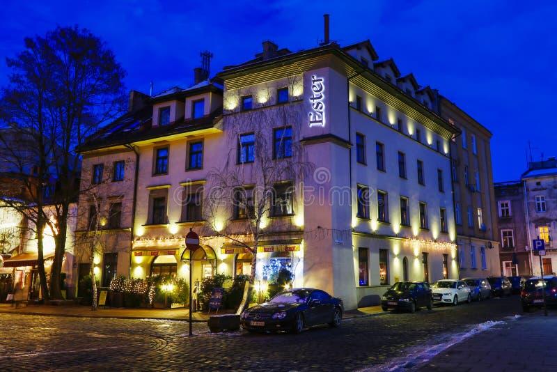 Szeroka ulica Kazimierz, poprzednia żydowska ćwiartka Krakow, Pole zdjęcie stock