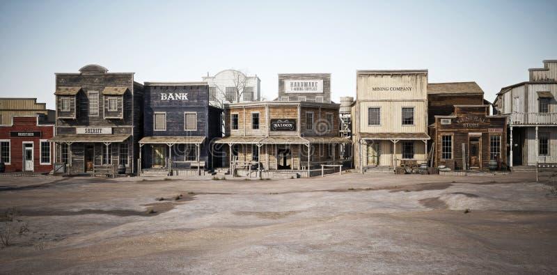 Szeroki boczny widok nieociosany antykwarski Zachodni miasteczko z różnorodnymi biznesami royalty ilustracja