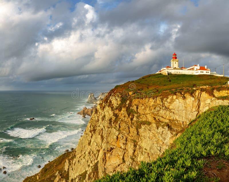 Szeroki kąt Cabo da Roca latarni morskiej timelapse końcówka Europa zdjęcie royalty free
