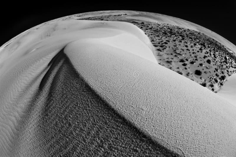 Szeroki kąta obiektyw tworzy globalnego widok Białych piasków Krajowy zabytek zdjęcie royalty free