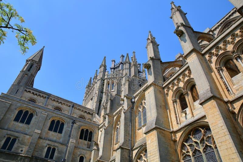 Szeroki kąta widok Południowa część katedra Ely w Cambridgeshire, Norfolk, UK obrazy royalty free