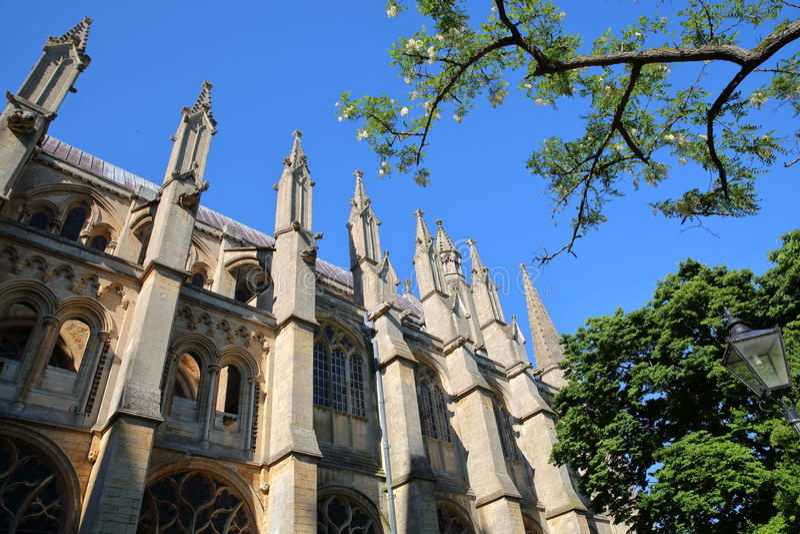 Szeroki kąta widok Południowa część katedra Ely w Cambridgeshire, Norfolk, UK, z szczegółami iglicy zdjęcie royalty free