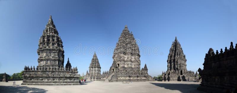 Szeroki kąta widoku Prambanan świątyni kompleks obrazy royalty free